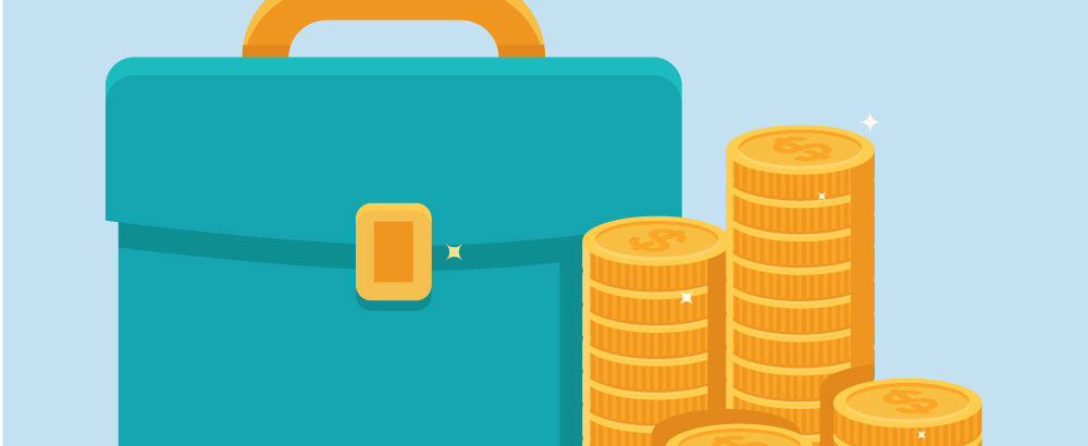 An illustration of a briefcase next to stacks of gold coin